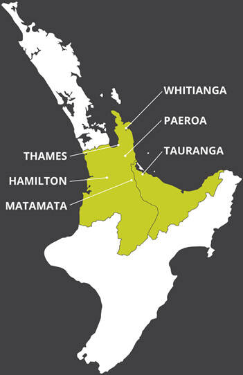 Surveying Services land surveyors cover areas around Thames, Hamilton, Matamata, Tauranga, Paeroa and Whitianga